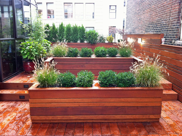 Nyc roof garden: terrace deck, wood planter boxes, fence ...