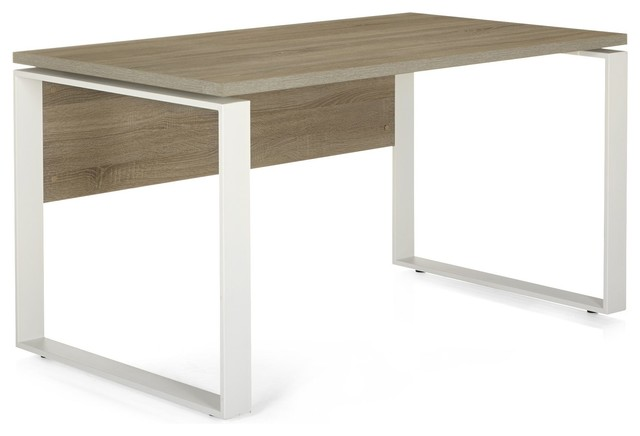Designo bureau professionnel 140cm en ch ne contemporain for Meuble bureau contemporain