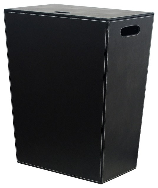 Ecopelle 2462 leather laundry hamper black contemporary laundry baskets - High end laundry hamper ...