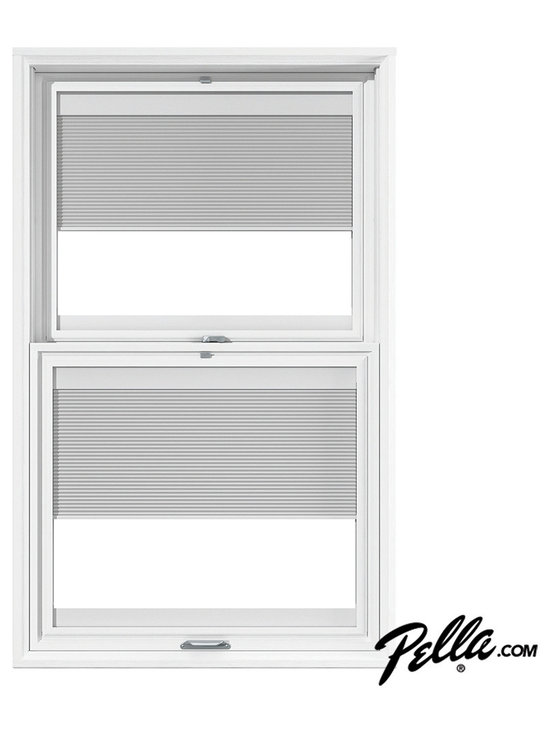 Pella designer series double hung window pella blinds for Window treatments for double hung windows