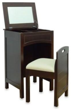 cheswick vanity storage unit and seat in espresso