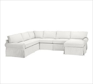 Pb Basic Left 4 Piece Chaise Sectional Slipcover Denim