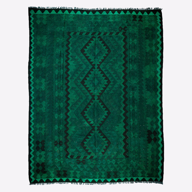 Kilim Wool Area Rug, Green, 6x9