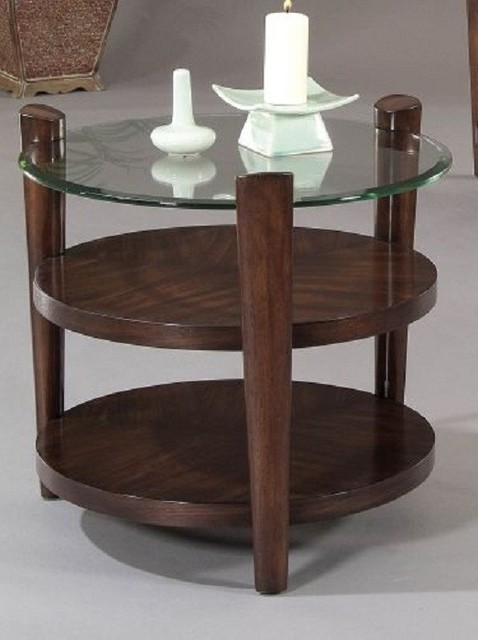 Bassett mirror allegro glass and wood end table t1120 for Mirror and wood coffee table