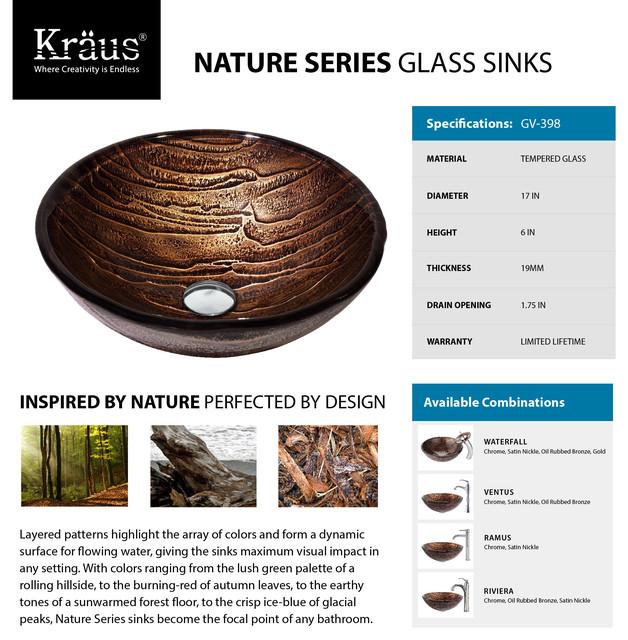 kraus gaia glass vessel sink gv 398 19mm nature series modern bathroom sinks new york. Black Bedroom Furniture Sets. Home Design Ideas