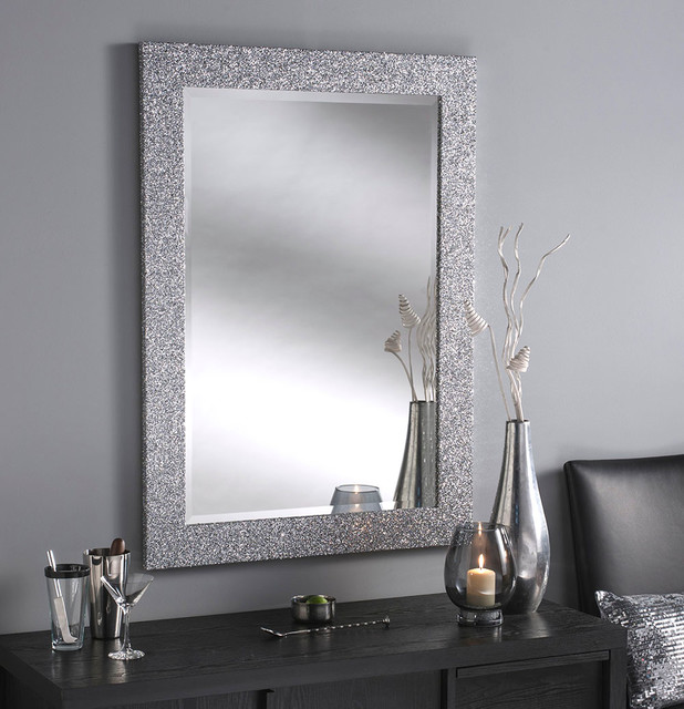 Epping Silver Glitter Contemporary Wall Mirrors
