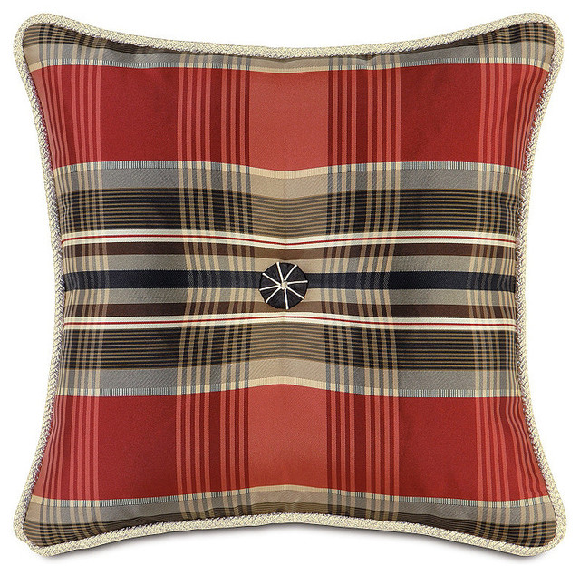 Scalamandre Tartan Tufted Decorative Pillow - Traditional - Decorative Pillows - by FRONTGATE