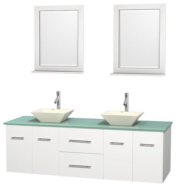 Centra 72 Espresso Double Bathroom Vanity Green Glass Top Bone Porcelain Sink Contemporary