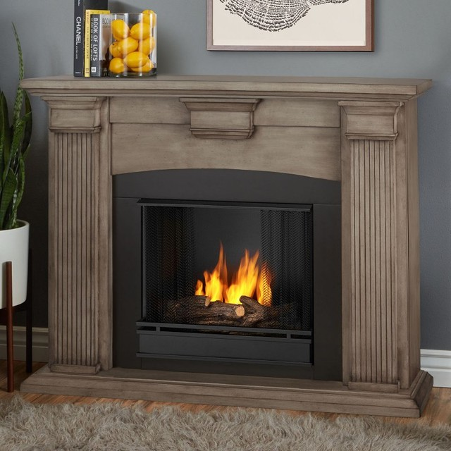 Real flame adelaide ventless gel fireplace 7920 dbw for Contemporary ventless fireplace
