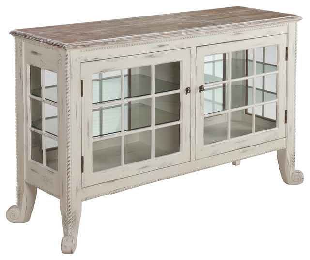Cottage White Curio Console - Farmhouse - Accent Chests And Cabinets - by Gail's Accents