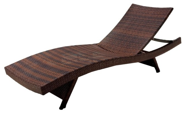 Outdoor wicker chaise lounge in brown contemporary for Chaise longue tours