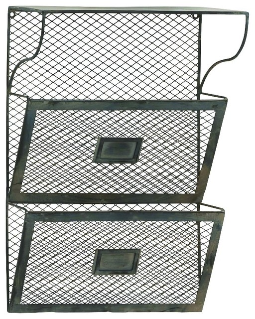 metal wall rack two wire mesh storage baskets home office decor industriel porte revue par. Black Bedroom Furniture Sets. Home Design Ideas