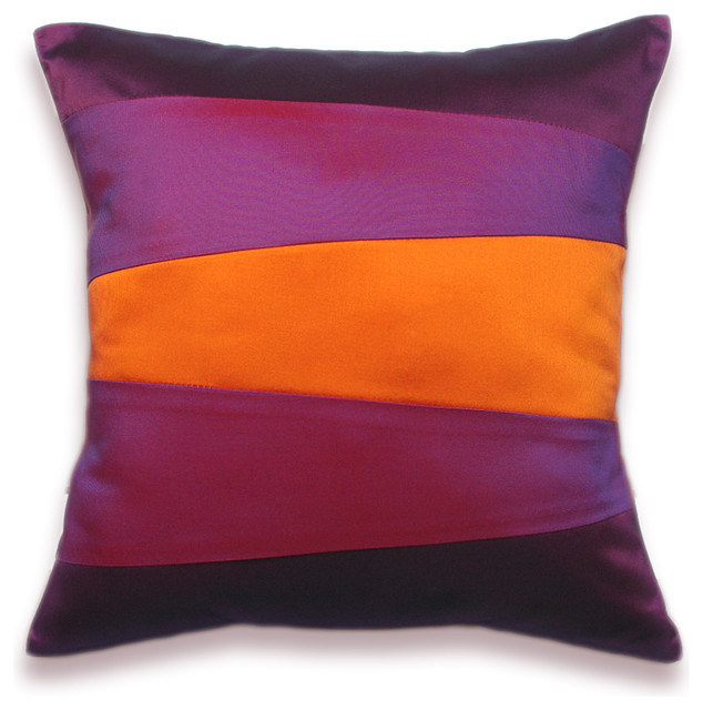 The Modern Pillow : Decorative Pillow Case 16 in SIENNA in Orange Purple And Violet - Modern - Decorative Pillows ...