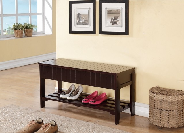 Espresso Solid Wood Storage Shoe Bench Shelf - Serving Dishes And Platters - by Overstock.com