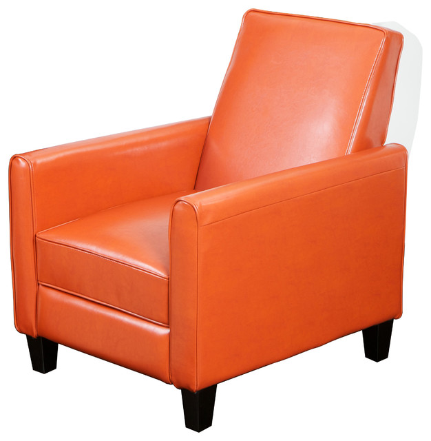 Jamestown Orange Leather Recliner Chair Contemporary Armchairs And Accent