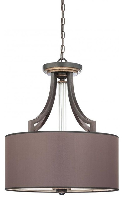 Four Light Charcoal Fabric Shade Drum Shade Pendant
