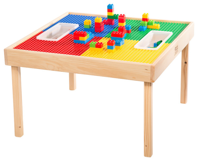 Reversable Lego And Duplo Wood Play Table With 2 Storage Bins Kids Tables A