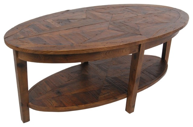 Alaterre heritage reclaimed wood oval coffee table for Contemporary oval coffee tables