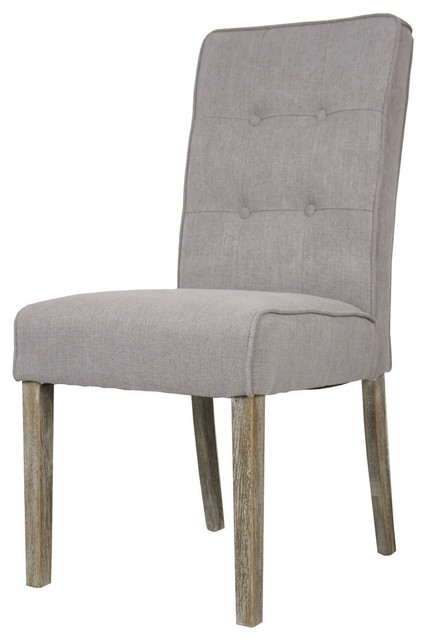 tufted back fabric dining chair gray transitional dining chairs