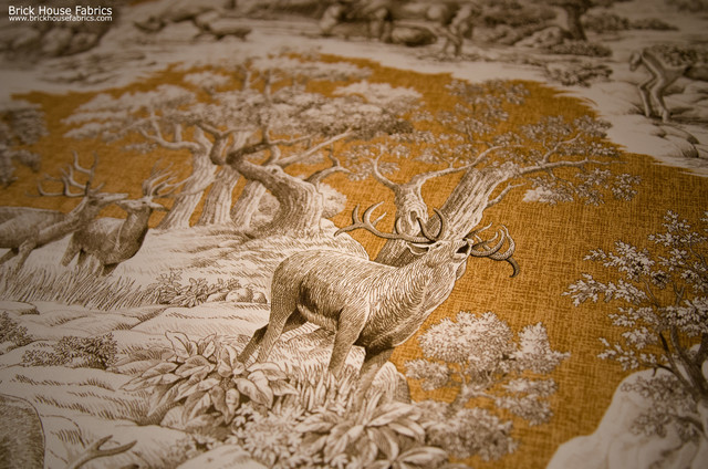 Deer Fabric Gold Toile Nature Woodland Cabin Lodge