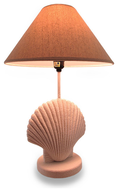 textured white scallop shell style lamp w fabric shade. Black Bedroom Furniture Sets. Home Design Ideas
