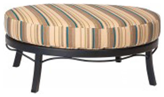 Woodard Cortland Cushion Aluminum Universal Oval Ottoman Traditional Pati