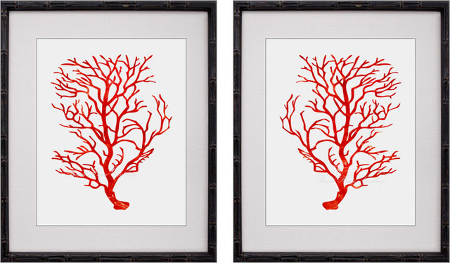 Red Coral Prints, Red Coral Wall Art, Red White Decor, Red Coral tropical
