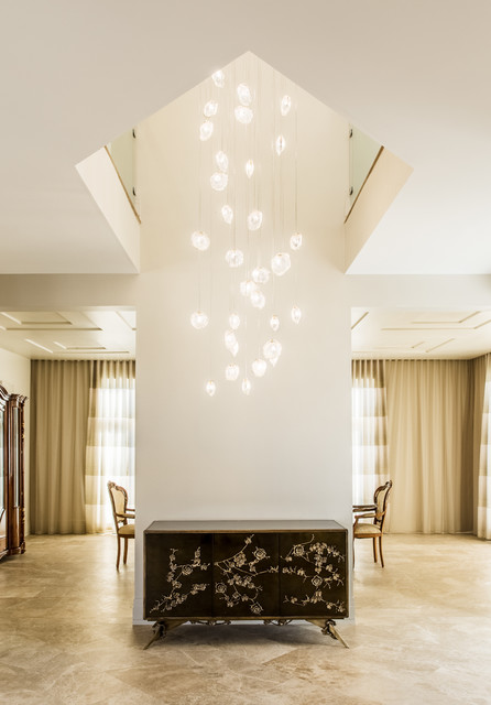 Contemporary Foyer Uk : Crystal shell custom blown glass foyer chandelier