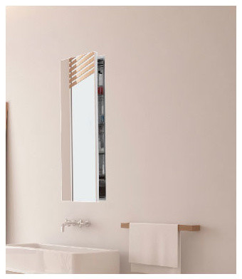 Simplicity Large Mirror Cabinet Recessed Right Hinge - Modern - Medicine Cabinets - by Lightology