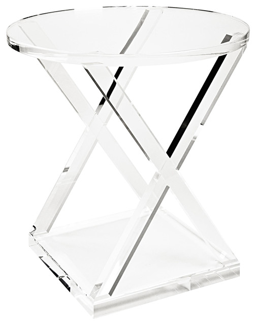 Kelvin Modern Acrylic Round X Frame End Table