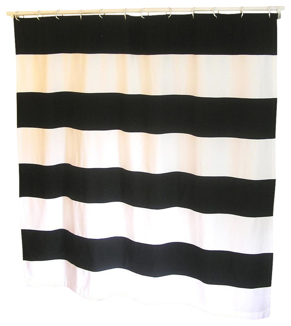 Organic Extra Long Stripe Shower Curtain Light Gray And