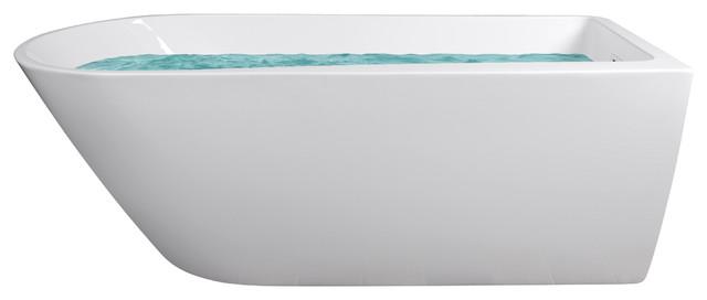 69 Freestanding Acrylic Rectangular Soaking Bathtub With Floor Mount Fa