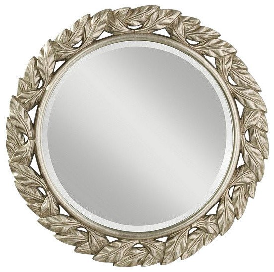 Murray Feiss Mirrors: Murray Feiss Leaves Round Silver Leaf Mirror
