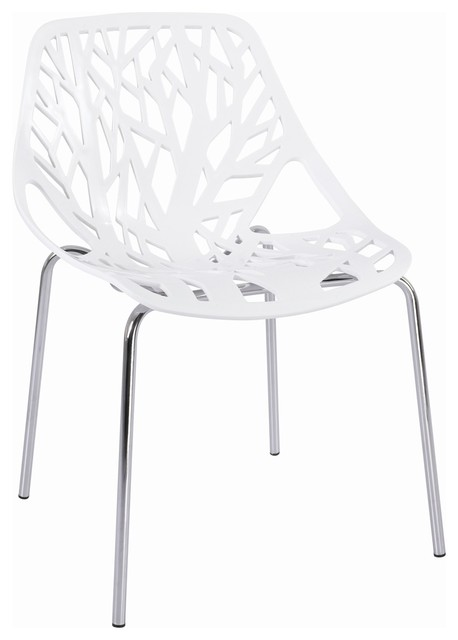 Tree cutout dining chair white plastic modern dining for White plastic dining chair