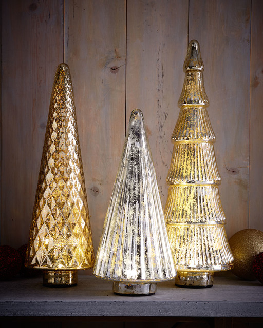 Mercury glass led trees holiday accents and figurines