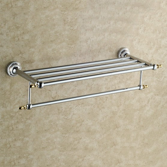 Polished Chrome Solid Brass Bathroom Shelf With Towel Bar