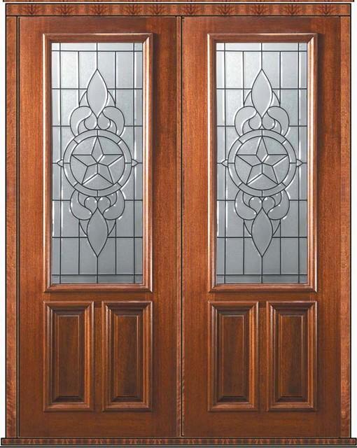 Prehung Entry Double Door 96 Mahogany Brazos 2 Panel 2 3 Lite Glass Mediterranean Front