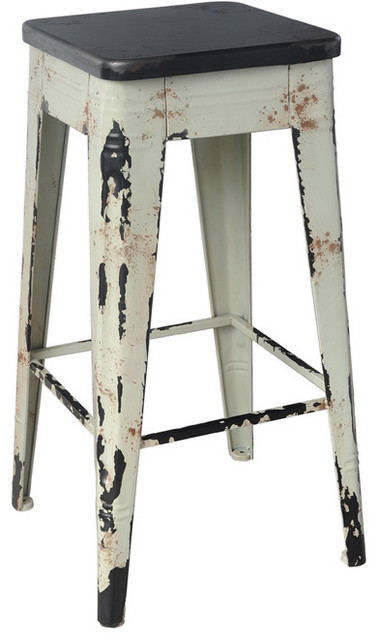 Distressed White Wooden Bar Stool Contemporary Bar