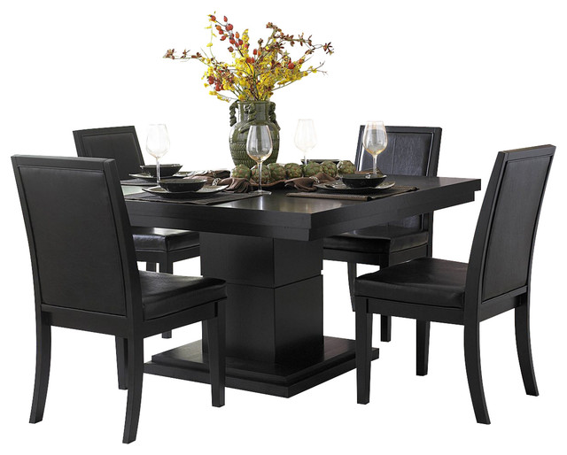 Cicero Square Pedestal Dining Table In Black Traditional Dining Tables
