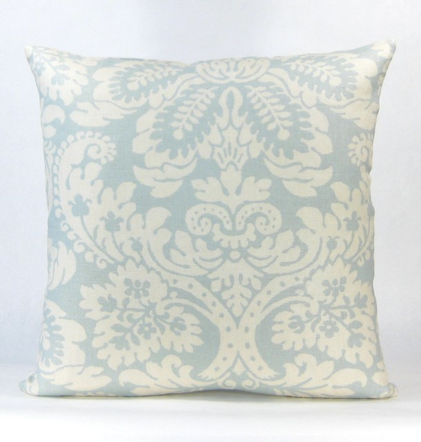 Large Blue Decorative Pillows : Belle Large Floral Throw Pillow - Blue
