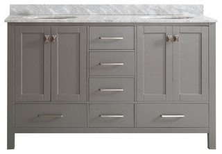 Gela double vanity with carrera marble top gray without - Contemporary bathroom vanities without tops ...