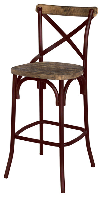 Natalie Metal Bar Stool Distressed Red Modern Bar