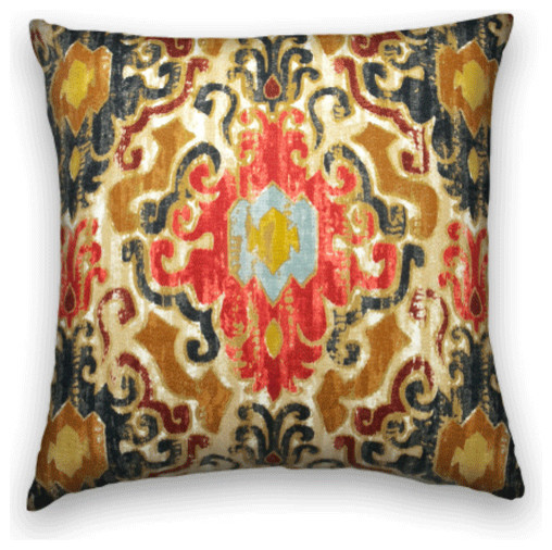 Blue Red Brown Ikat Throw, 18x18 Pillow Cover with Insert - Traditional - Decorative Pillows ...