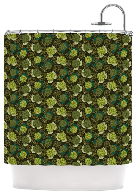 Holly Helgeson Camillia Dark Forest Green Shower Curtain Contemporary Shower Curtains By