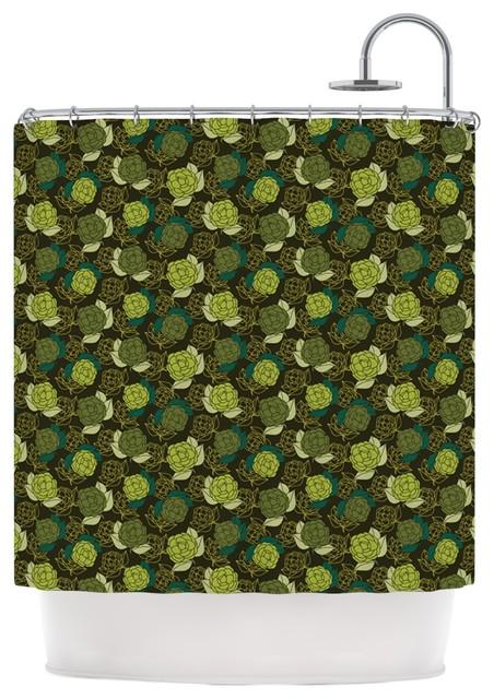 Holly helgeson camillia dark forest green shower curtain - Forest green shower curtain ...
