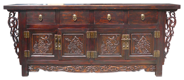 Consigned chinese vintage fujian relief carving console for Asian console cabinet