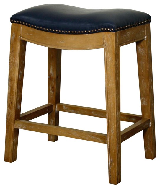 Elmo Bonded Leather Counter Stool With Weathered Legs