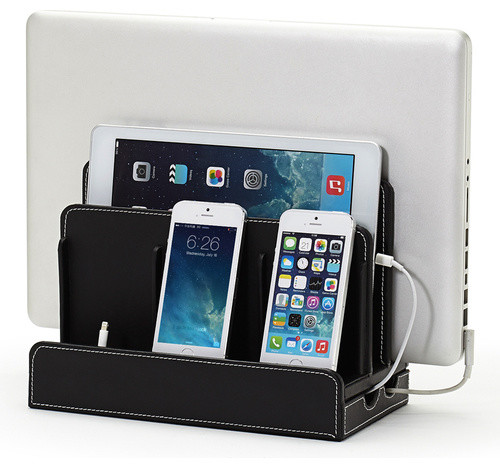 Faux Leather Multi Device Charging Station Contemporary