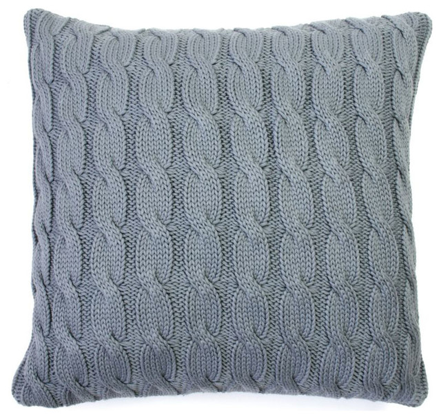 Modern Knitted Pillow : Hemingway Cable Knit Pillow Cover - Modern - Scatter Cushions - by Dot & Bo