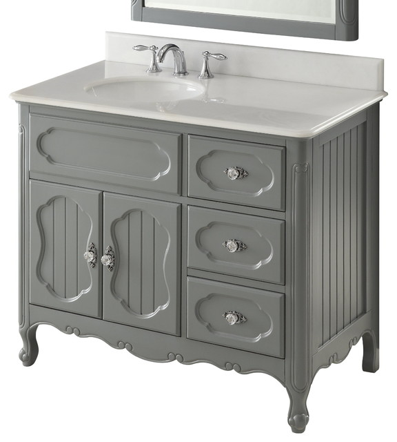 """42"""" Victorian Cottage Style White Knoxville Bathroom Sink Vanity"""